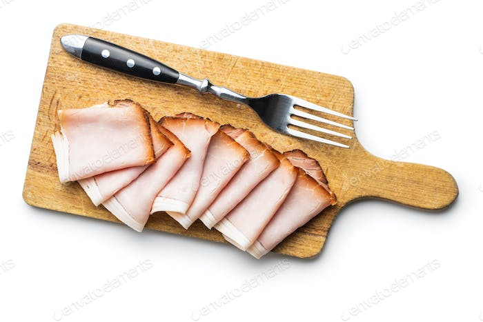 Sliced smoked ham. Tasty pork meat.
