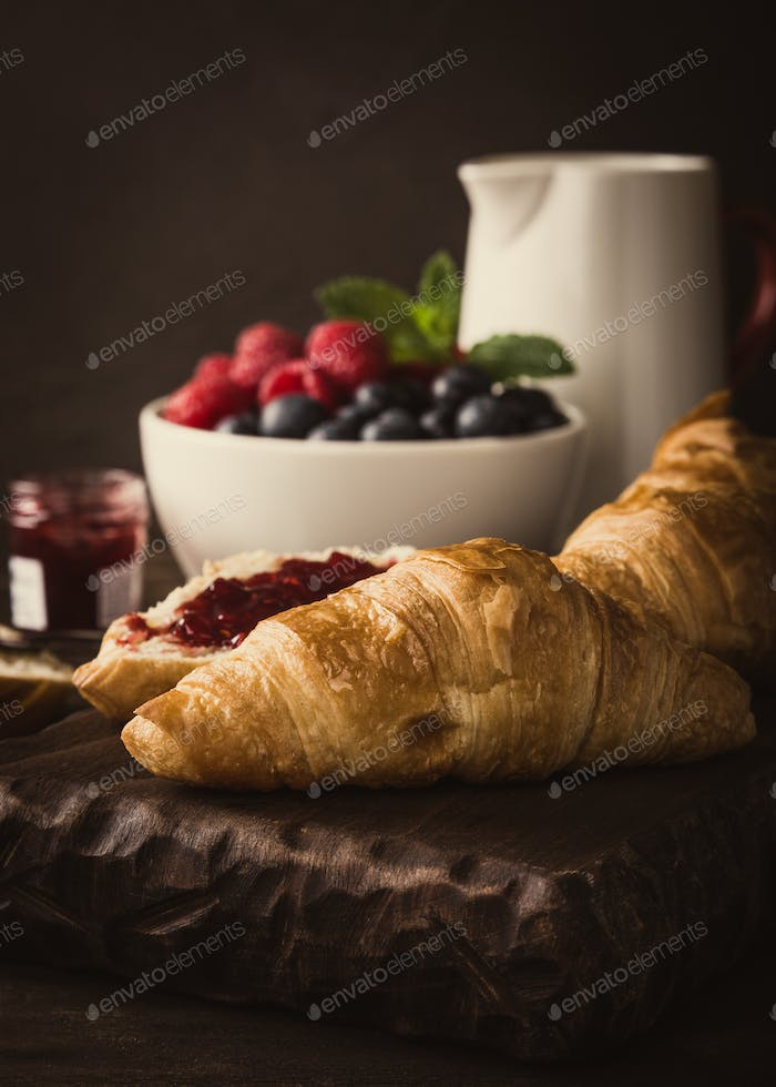 Delicious breakfast with fresh croissants