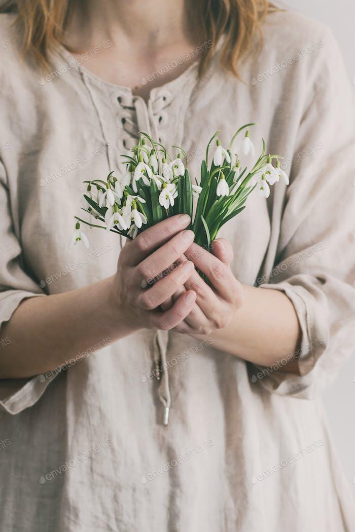 Bouquet of wild snowdrops