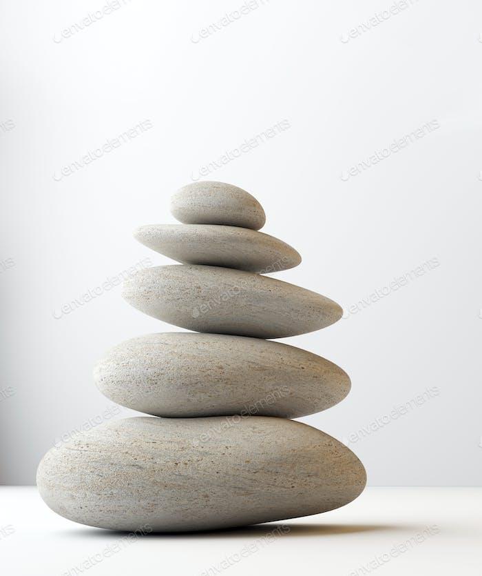 stack of white balanced zen spa stones isolated. white background. 3d illustraton