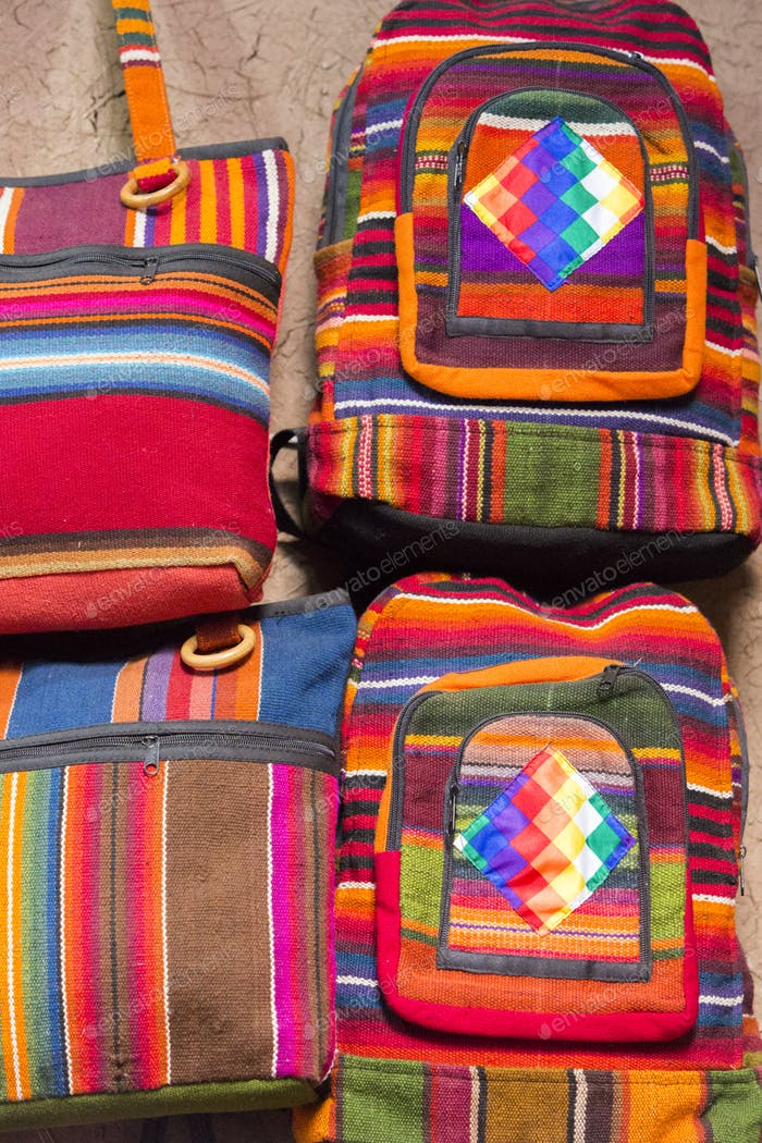 Woolen colored bag at the Andean market of Cusco, Peru