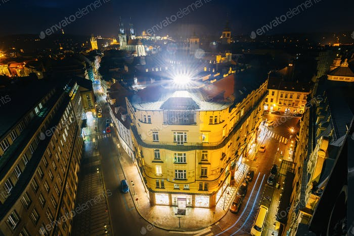 Night view of building of the Czech Industrial Bank in Prague, C