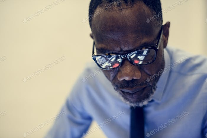 African ethnicity businessman working