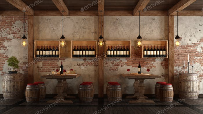 Wine cellar with dining table for tasting