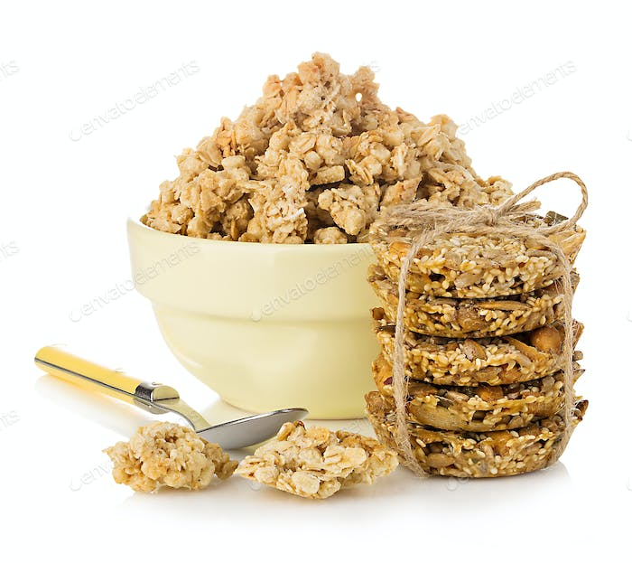 Breakfast cereal close-up isolated on white background.