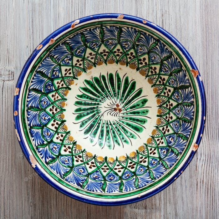 above view of central asian bowl on gray table