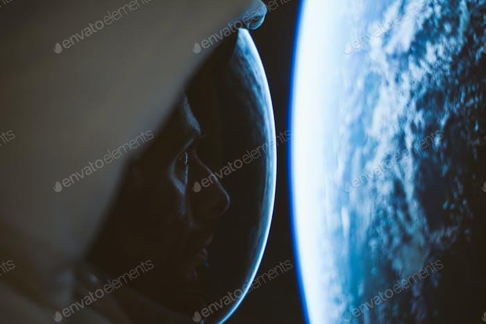 Astronaut exploring a new planet.