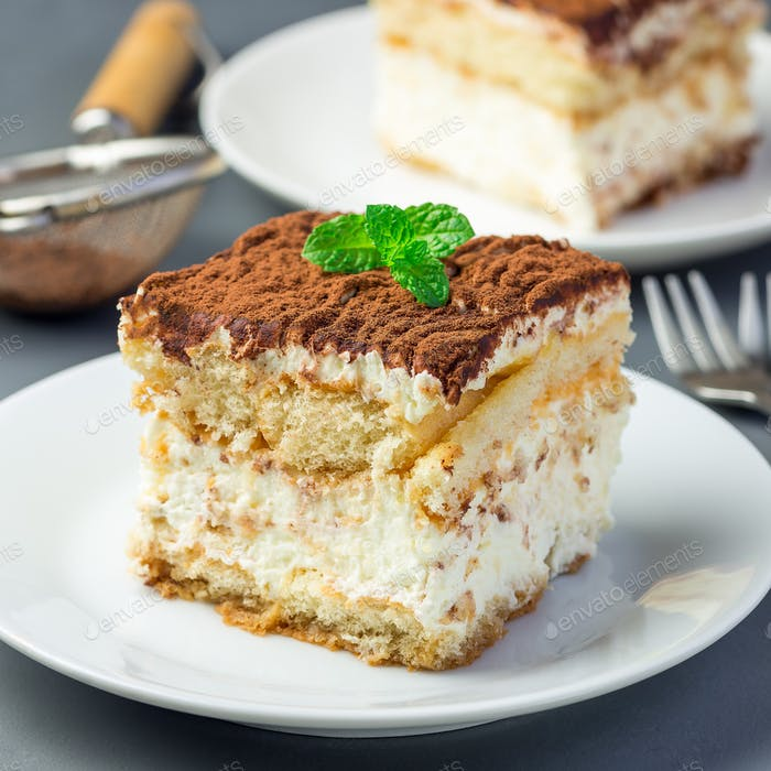 Piece of traditional italian Tiramisu dessert cake on a white pl