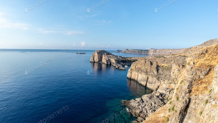 Rocky cliffs of the island of Rhodes