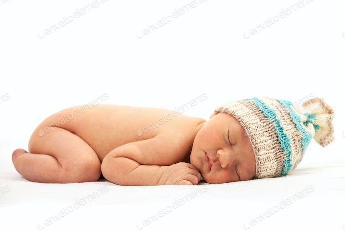 Newborn baby boy asleep