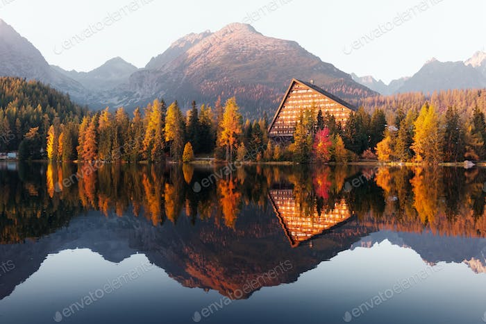 Picturesque autumn view of lake Strbske pleso in High Tatras National Park