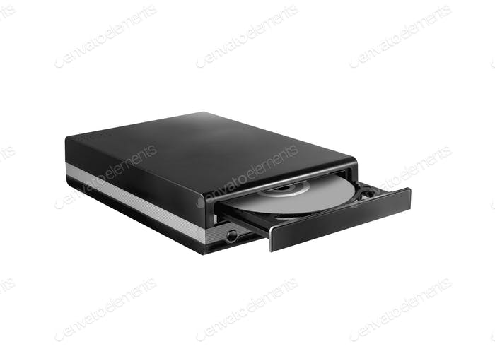 opened drive CD - DVD - Blu Ray with a black cap and disk