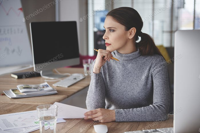 Pensive woman got the right mindset for business