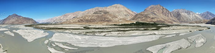 Shyok River and mountains in Nubra Valley,India