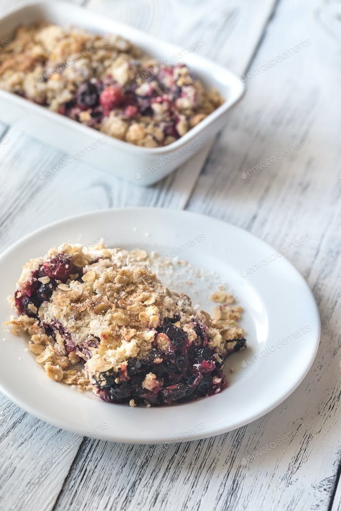 Portion of berry crumble