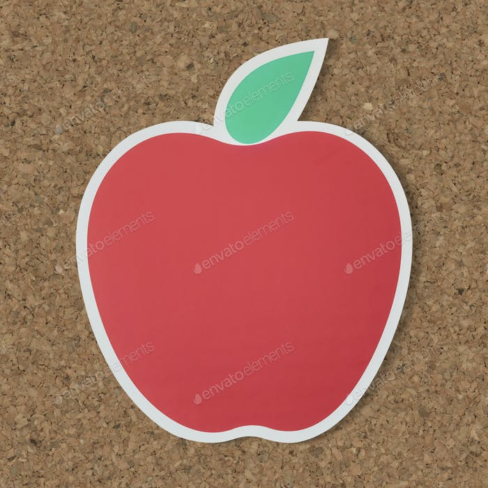 Red apple icon with leaf