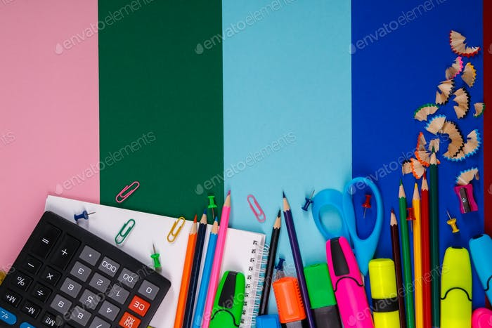 School or office stationery on colorful background. Back to . Frame, copy space. Top view. supplies