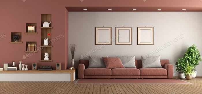 Modern living room with sofa and niche on wall