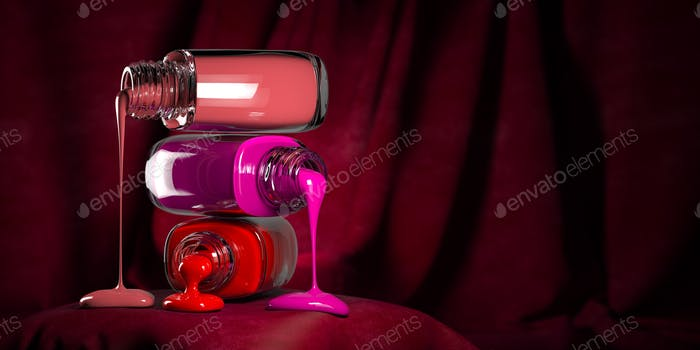 Dripping nail polish on pink velvet background.