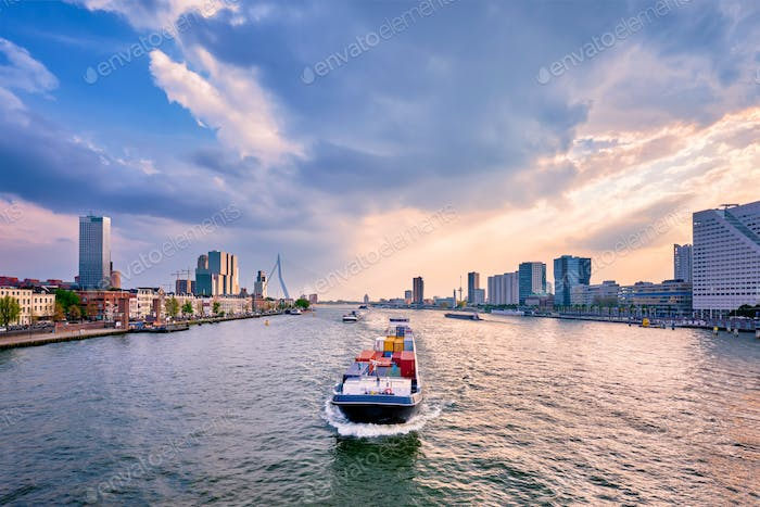 Rotterdam cityscape view over Nieuwe Maas river, Netherlands