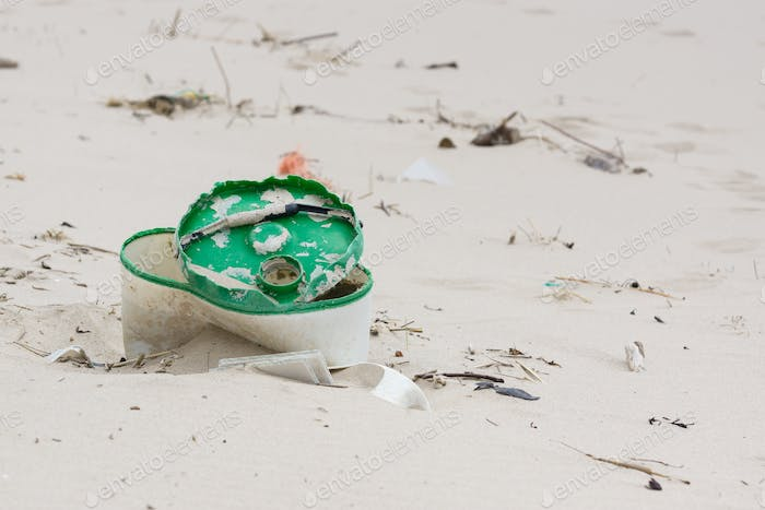 Discarded Plastic Garbage on a Beach