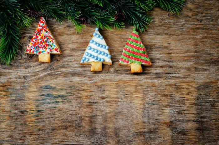 colored Christmas tree cookies
