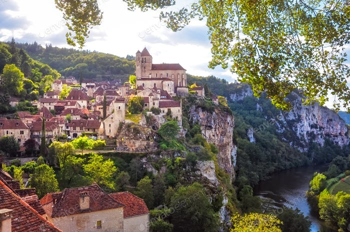 Landscape view of medieval village Saint Cirque La Popie in France