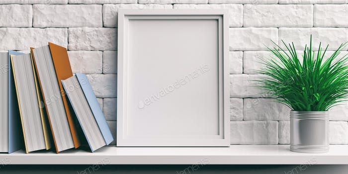 Frame and books on a white shelf. 3d illustration