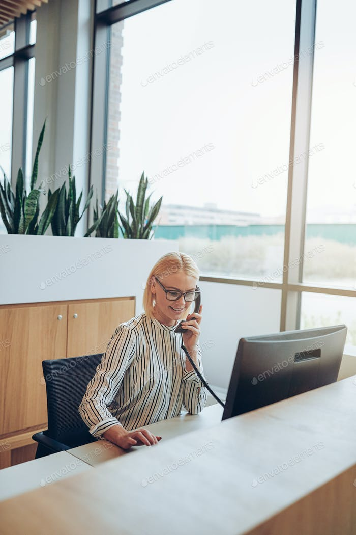 Smiling businesswoman talking on the phone to a client