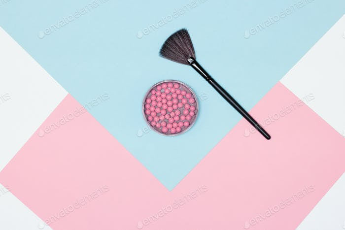 Pink ball blusher with fan make-up brush