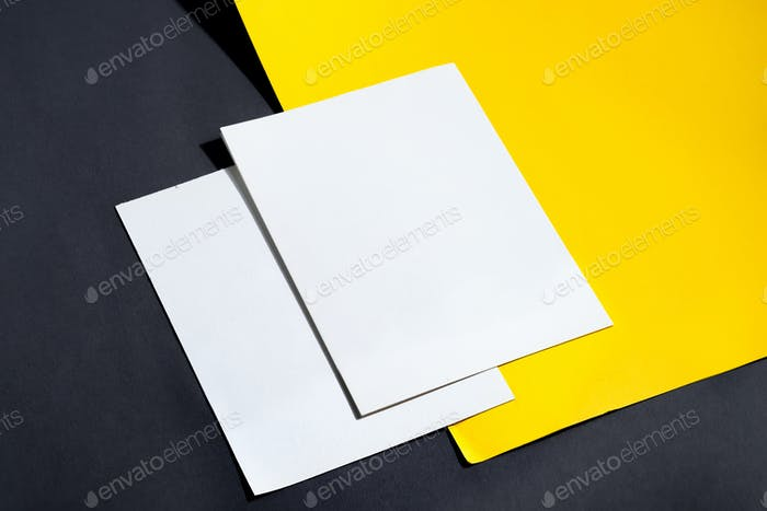 Folded business white card mockup