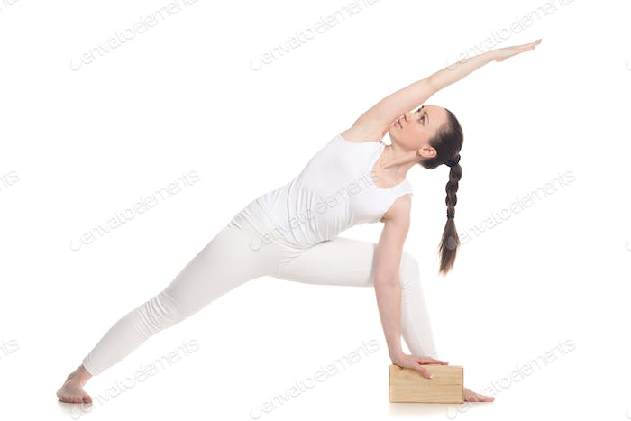 Extended Side Angle Pose Yoga with block