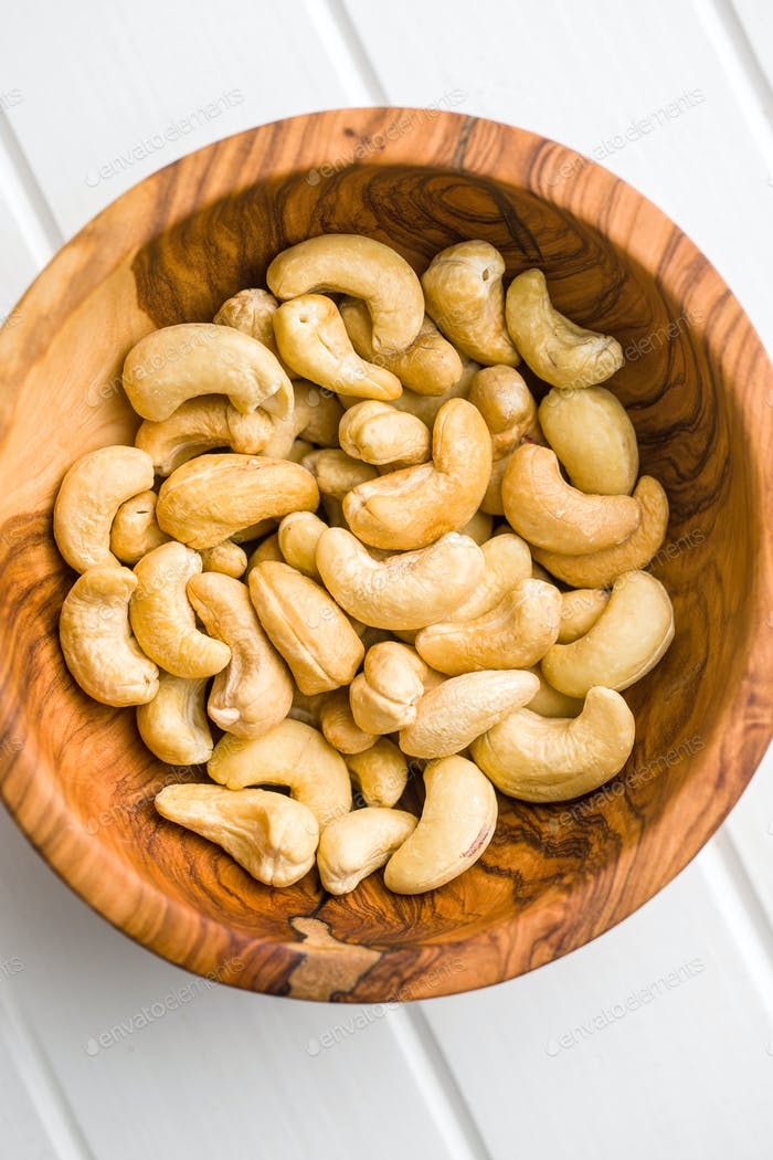 Roasted cashew nuts.