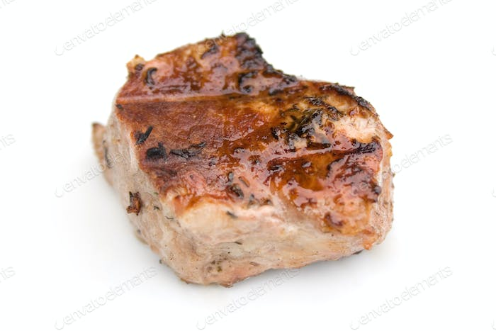 Barbecued Piece of Meat Isolated on a White Background