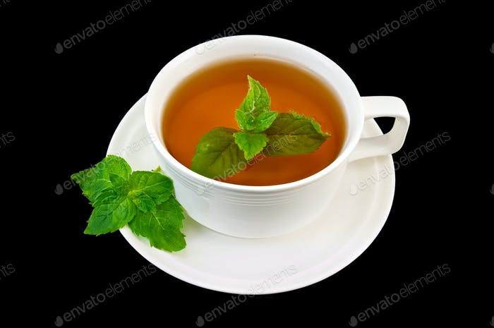 Herbal tea with mint sprigs of two
