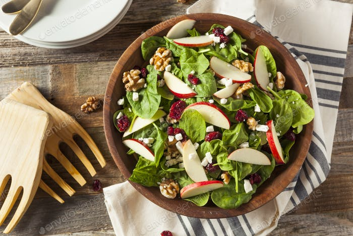 Homemade Autumn Apple Walnut Spinach Salad