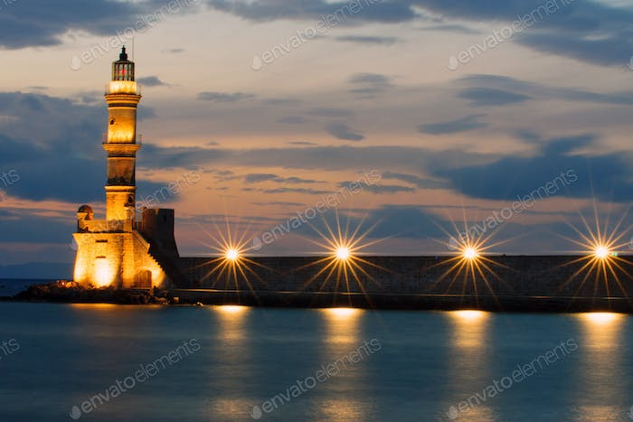 The lighthouse of Chania after sunset
