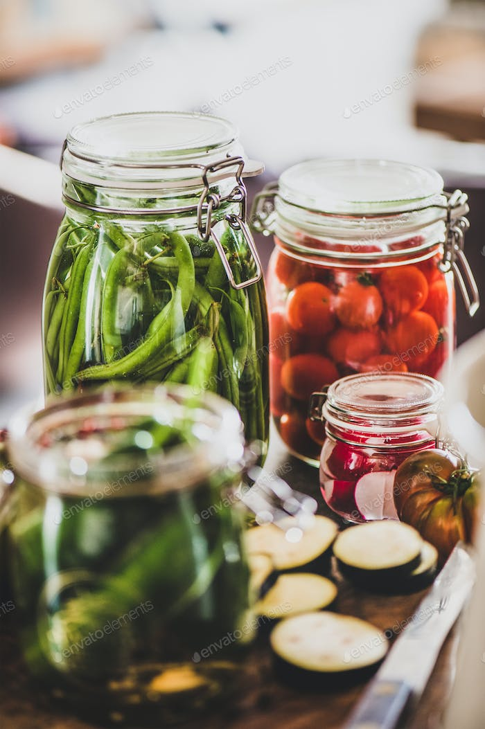 Autumn vegetable pickling and canning. Ingredients for cooking
