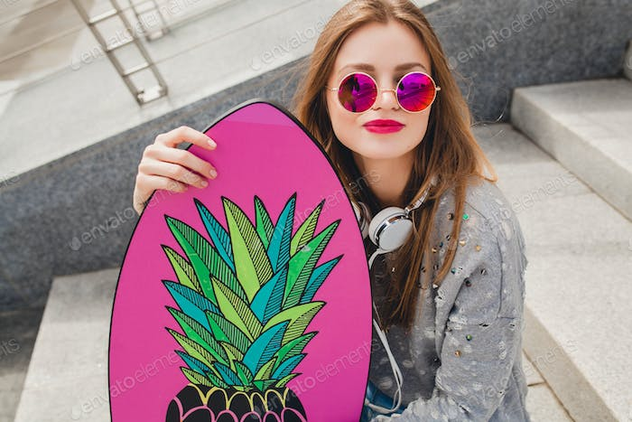 young hipster woman in street