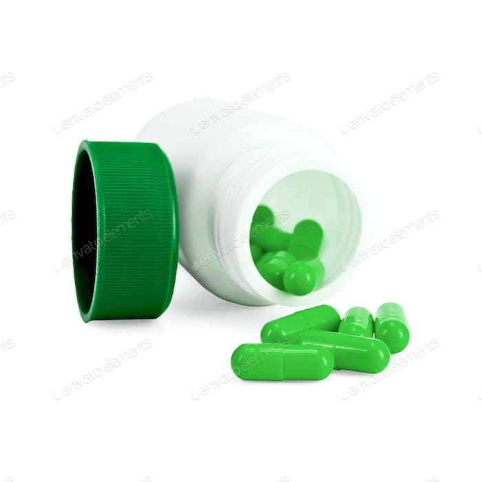 Capsules green in bottle