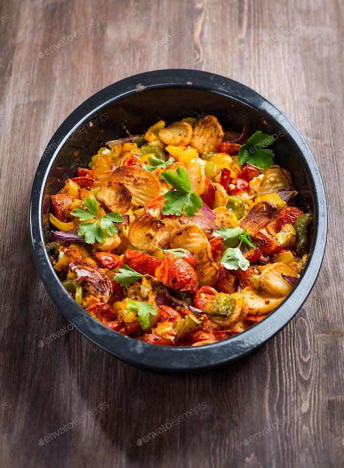 Baked vegetables in pan