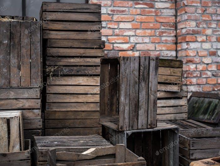 warehouse wood planks on the street