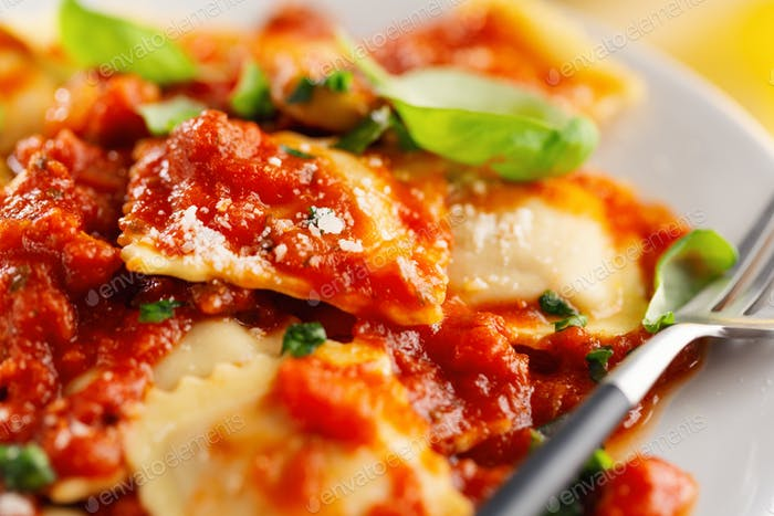 Closeup of tasty italian ravioli