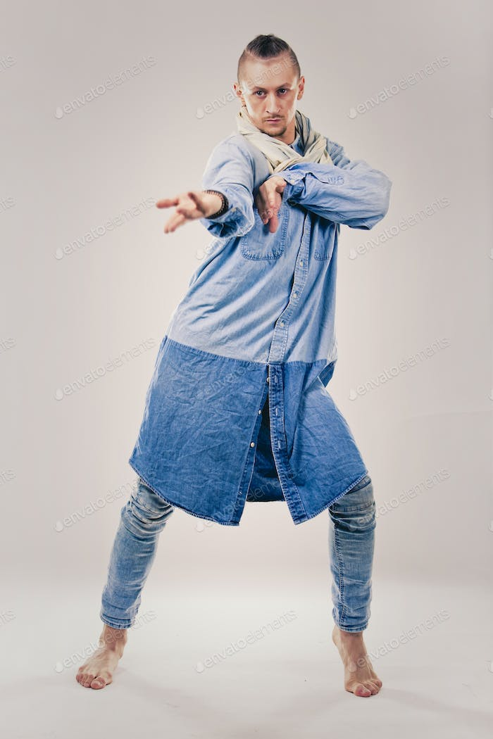 male contemporary hip hop dancer in denim