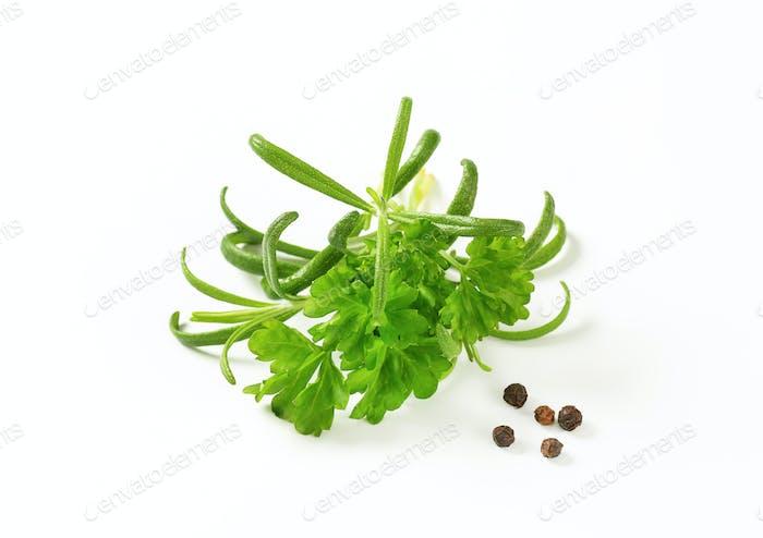 Fresh parsley and rosemary