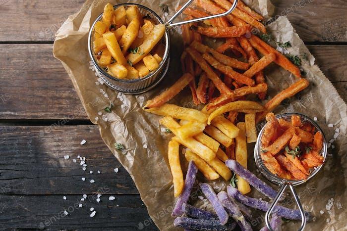 Verschiedene Pommes frites