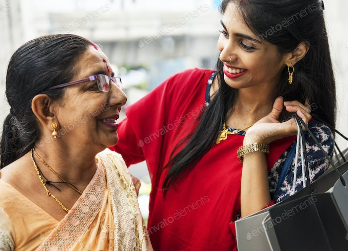 Indian family enjoying a shopping mall