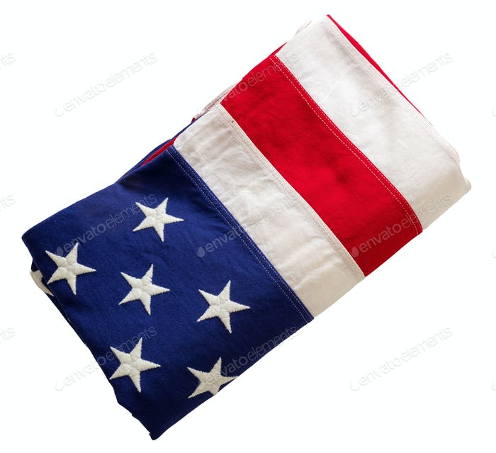 USA flag, US of America sign symbol isolated on white background, top view