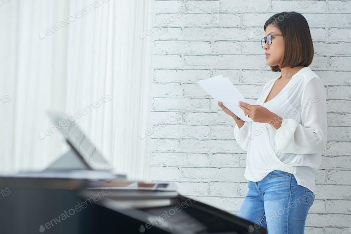 Pensive composer