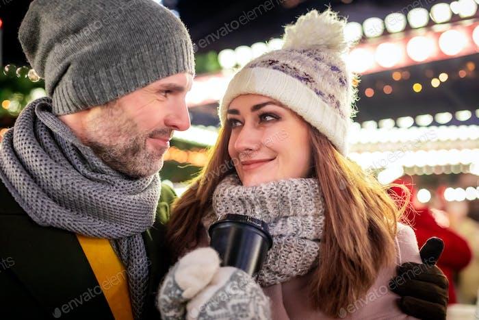 Loving couple winter holidays decorations